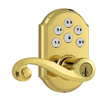 Kwikset SmartCode Lever with Z-Wave; Polished Brass